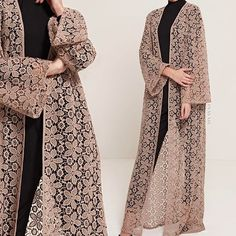 INAYAH - Versatility and Style -  An outerwear essential to wear over your midi, abaya, maxi skirt or modest trousers. Pair with our Soft Crepe Hijabs for a high-fashion stance.  Warm Sand Floral Lace Kimono  Black High Neck Top  Black Straight Leg Trousers  www.inayah.co