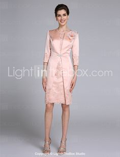 2017 Lanting Bride® Sheath / Column Mother of the Bride Dress Knee-length 3/4 Length Sleeve Satin with Appliques 2017 - $119.99