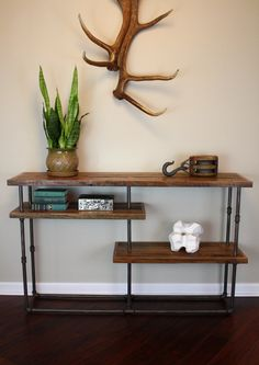 Industrial Console // Reclaimed Wood & Steel Pipe // Rustic Sideboard. $595.00, via Etsy.