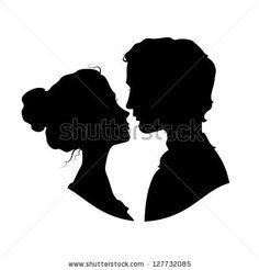 Liebespaarsilhouetten Schwarz auf weißem Hintergrund