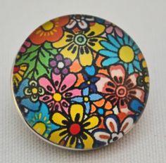 18mm Snap - Floral, Mod 70's colors