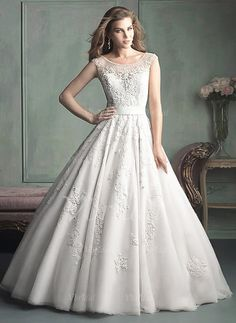 Wedding Dresses - $259.99 - Ball-Gown Scoop Neck Cathedral Train Satin Tulle Wedding Dress With Beading Appliques Lace (0025056480)