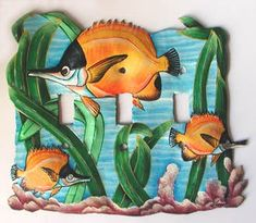Dress up your home - Add decorative metal switch plates to your home decor. Switch Plate Covers, Light Switch Plates, Light Switch Covers, Painted Metal, Metal Art, Hand Painted, Fish Design, Plate Design, Tropical Decor