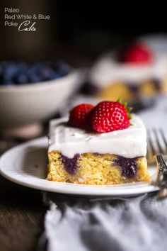 Paleo Poke Cake Recipe with Blueberries, Strawberries and Coconut Cream