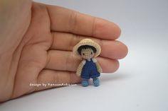 Farmer Boy - Amigurumi Crochet Doll - Miniature Doll - Tiny Boy - Farm Boy - A little Boy - Boy Doll - Toy Dollhouse - OOAK  This is a little