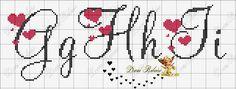 ENCANTOS EM PONTO CRUZ: Monograma em Ponto Cruz de Coração Cross Stitch Quotes, Cross Stitch Letters, Cross Stitch Borders, Cross Stitch Samplers, Cross Stitch Designs, Cross Stitching, Cross Stitch Embroidery, Stitch Patterns, Embroidery Alphabet
