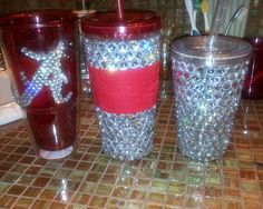 Rhinestone bling cups and tumbler by BrooksBling on Etsy, $18.00