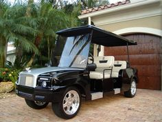 Custom golf carts are a great way to navigate the golf course and they also make a strong statement about the owner's personality, taste, and bank account. Golf Carts For Sale, Custom Golf Carts, Mercedes Maybach, Ferrari 458, Play Golf, Future Car, Rolls Royce, Hot Cars, Dream Cars