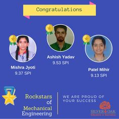 Silver Oak Group of Institute feels proud to announce the toppers of semester-2 from Mechanical Engineering.