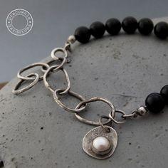 srebro 925, onyks, perła