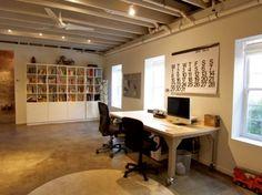 basement office / studio -- love the concrete floors & loft feel