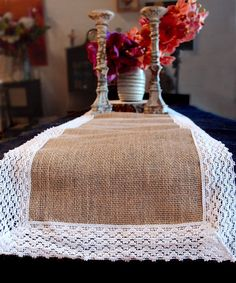 Accessorize your table with this simple Jute & Lace Table Runner. Whether for a shabby chic wedding, or an outdoor party, this stylish runner provides a subtle backdrop for simple centerpieces and table settings. The burlap table runner features lace Rustic Table Runners, Country Wedding Decorations, Cheap Flowers, Fall Wedding Flowers, Burlap Lace, Floral Supplies, Silk Flowers, White Lace, Jute