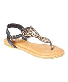 8ed6f8c85e0f8c Black Knot T-Strap Sandal T Strap Sandals