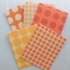 丸並び模様ぽち袋セット 5枚組 オレンジ カード・レター QK ハンドメイド通販・販売のCreema