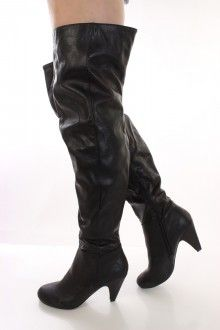 Black Faux Leather Thigh High Heel Boots *CELEBRITY STYLE INSPIRED BY CIARA*