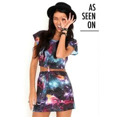 Missguided Catelin Galaxy Cut Out Tunic ($16) ❤ liked on Polyvore featuring tops, tunics, dresses, cutout tops, knot top, cut-out tops, rayon tunic and galaxy print top