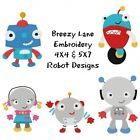 Robot Boys and Girls Machine Embroidery Design Set 4X4 & 5X7 on CD
