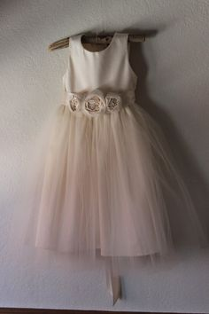 Ivory Flower girl dress ...... Organic sateen by OliveandFern, $99.00