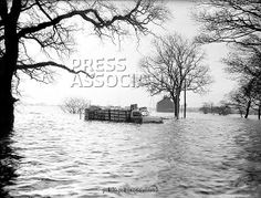 Weather - Flooding at Methley - West Yorkshire - 1960 as Framed Prints, Canvas Prints, Photo Gifts, Phone Covers or Wallpaper+Backgrounds