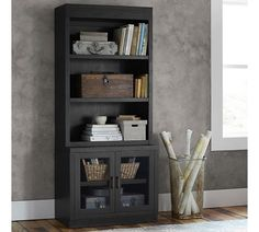 reynolds open bookcase with glass door cabinets