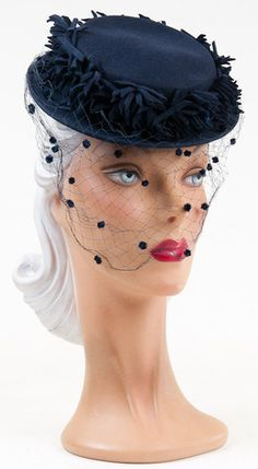 1940s Navy Felt Hat with Fringe Detail and Face Veil with Chenille Dots. Laurel ... this is so YOU!!