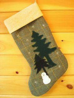Wool Christmas Stocking / Large Christmas Stocking by AwayUpNorth, $54.00