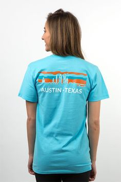 Show your love for the great city that the UT Longhorns call home with the Austin, Texas Downtown Skyline Tee from Uscape Apparel! Order online today!
