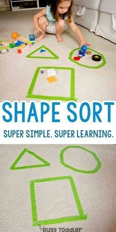 Shape Sorting Activity: Go Beyond Memorizing Busy Toddler Super Simple Shape Sorting Activity easy indoor activity; easy math activity The post Shape Sorting Activity: Go Beyond Memorizing Busy Toddler appeared first on Toddlers Ideas. Preschool Learning Activities, Infant Activities, Fun Activities, Activities For 3 Year Olds, Toddler Learning Games, Indoor Toddler Activities, Children Activities, Crafts For 3 Year Olds, Shapes For Preschool