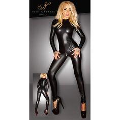Wetlook Catsuit - Zwart - Voor liefhebbers van fetish is deze zwarte catsuit met wetlook het perfecte kledingstuk. Door het dragen van deze catsuit maak je een verpletterende indruk op je partner.