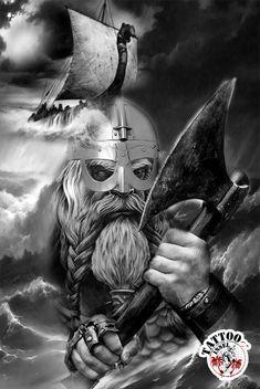 Wikinger Wikingerschiff Drachenschiff Tattoomotive Design Norse Mythology Tattoo, Norse Tattoo, Celtic Tattoos, Viking Symbols, Viking Art, Viking Tattoo Sleeve, Sleeve Tattoos, Samurai Tattoo, Guerrero Tattoo
