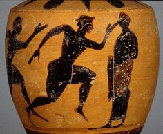 Ancient Sports: Running. Philadelphia MS739. Main panel: runner on right.There were 4 types of races at Olympia. The stadion was the oldest event of the Games. Runners sprinted for 1 stade (192 m.), or the length of the stadium. The other races were a 2-stade race (384 m.), and a long-distance run which ranged from 7 to 24 stades (1,344 m. to 4,608 m.).