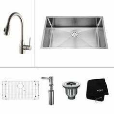 Kraus�16-Gauge Single-Basin Undermount Stainless Steel Kitchen Sink with Faucet