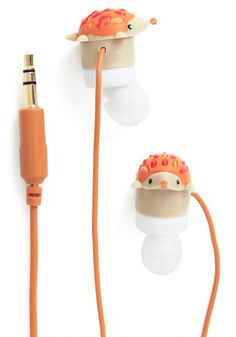 Leading Hedgehog Earbuds by Decor Craft Inc. - Quirky, Good, Orange, Print with Animals