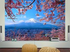 Fuji Mountain Photo WALLPAPER MURAL Cherry Tree POSTER Wall ART Bedroom Decor