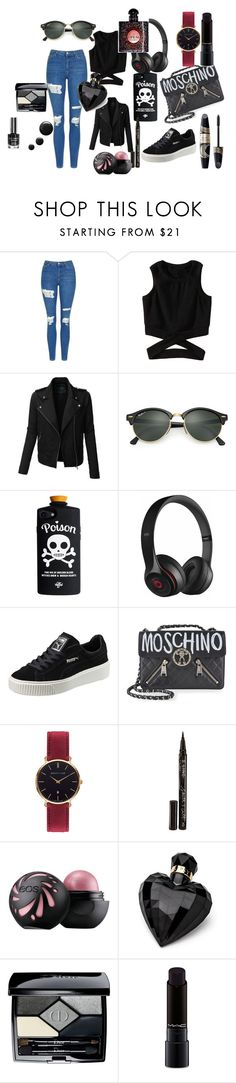 """I'd Like To Consider Myself More of a Rule Bender than a Breaker"" by kaia-trask ❤ liked on Polyvore featuring Topshop, LE3NO, Ray-Ban, Beats by Dr. Dre, Puma, Moschino, Abbott Lyon, Max Factor, Smith & Cult and Lipsy"