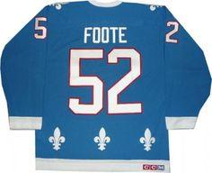 Quebec Nordiques Banners   Quebec Nordiques Jersey Adam Foote Vintage Blue Team Classics ...