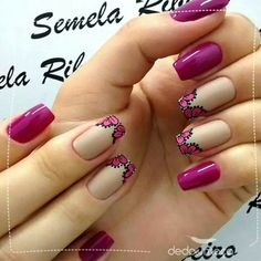 Ideas for nails art sencillo flores Red Nails, Glitter Nails, Hair And Nails, French Nails, Nail Inspo, Gel Nail Polish, Nail Arts, Beauty Nails, Cute Nails