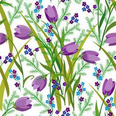 pattern with purple bouquet of meadow flowers