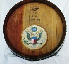 Hand Painted wine barrel head to commemorate #September11 #AmericaStrong #UnitedWeStand #AlwaysRemember #NeverForget