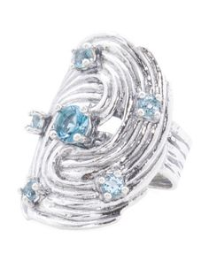 Made In Israel Sterling Silver Blue Topaz Cubic Zirconia Swirly Ring