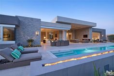 Stunning home with pool & fire feature - Indian Wells, CA Bungalow Haus Design, Modern Bungalow House, Modern Mansion, Modern Pool House, Best Modern House Design, Modern Villa Design, Dream Home Design, Home Building Design, Luxury Homes Dream Houses