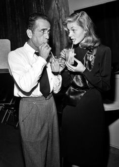 "Humphrey Bogart and Lauren Bacall between rehearsals for ""To Have and Have Not"" on CBS Radio's Lux Radio Theatre, Oct 1946, by CBS Photo Archive/Getty Images"
