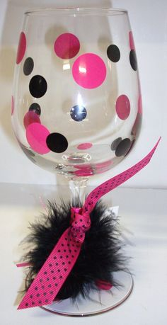 The Pink Polka Dot...The cutest personalized drink glass gifts.