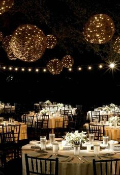 Wicker Balls Lighting Idea For Wedding - This would be gorgeous at the Rosada clubhouse