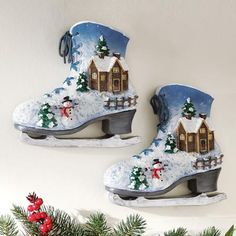 decorative ice skates  | Winter Scene Ice Skates Wall Decoration from Collections Etc.