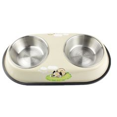 YINGMAN Stainless Steel Pet Dog Cat Double Diner Bowl Food and Water Bowl Cage Coop Clamp Parrot Bird Anti Slip Food Water Dishes SMALL (Beige) * You can get more details by clicking on the image. #CatFeedingandWateringSupplies