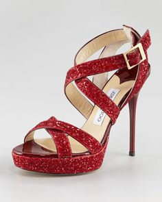 Vamp Glitter Crisscross Sandal, Red by Jimmy Choo at Neiman Marcus.