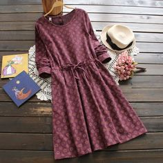 3 colors-- vintage print slim waist lacing long-sleeve o-neck one-piece dress drawstring full dress 2016 autumn Look Fashion, Hijab Fashion, Fashion Dresses, Stylish Dresses, Casual Dresses, Modest Outfits, Cute Outfits, Legging Outfits, Denim Leggings