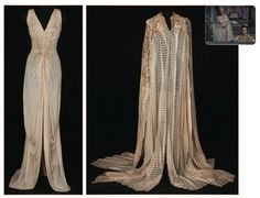 """Lana Turner's """"Samarra"""" down and cape from The Prodigal designed by Herschel McCoy 1955"""