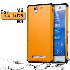 Pour Sony Xperia M2 E3 C3 Case Heavy Duty Armure Couverture De Silicium bord Antichoc Hard Case Pour Sony Xperia M2 Aqua E3 C3 Double cas